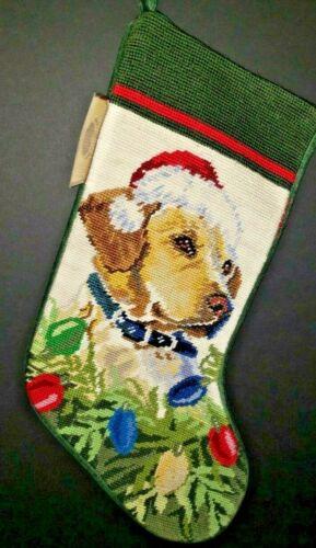 YELLOW LAB Labrador Dog Handmade Finished Needlepoint Christmas Stocking Nwt