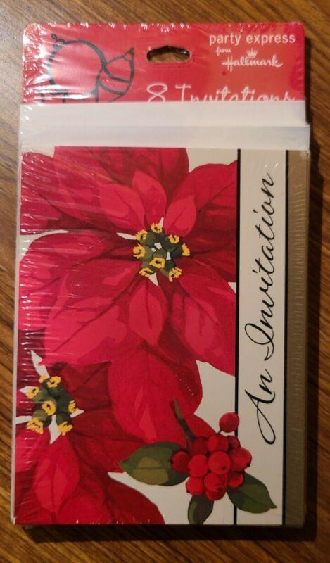 NEW Hallmark Christmas Party Invitations 8 Count Sealed Poinsettias