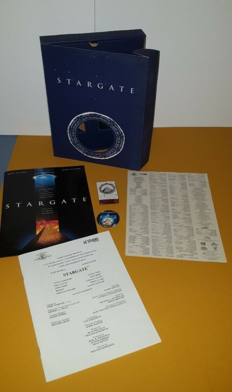 STARGATE PROMO BOX W STAMP ,PRESS BIO FOLDER, SCREENING CARD, BUTTON. 1994 RARE