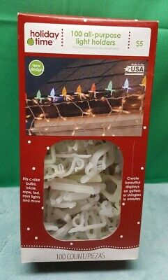 100 Count ALL-PURPOSE Christmas Light Holders Mounting Clips Gutter/Shingle