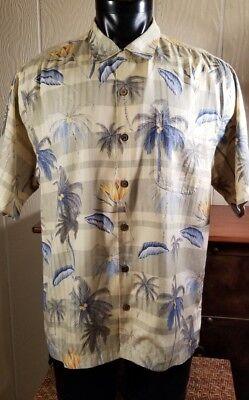 TOMMY BAHAMA Hawaiian Yellow/Blue Bird Of Paradise-Palm Trees Casual Shirt Sz M