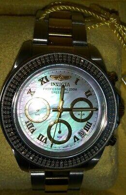 Invicta 16259 40mm Speedway .064ct Diamond platinum MOP Watch unisex size