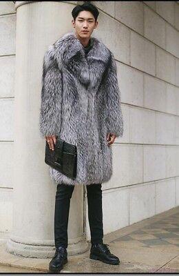 Hot Men Clothing Outdoor Fur Lapel Jacket Coat Casual Winter Fashion Knee High