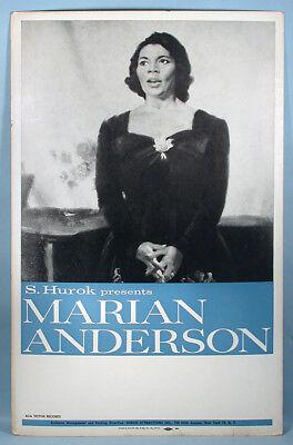 1950s Black Singer Marian Anderson Original Live Stage Performance Sign Poster