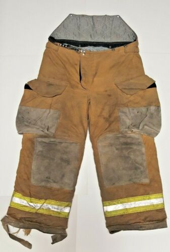 36R 36x29 Janesville Lion Firefighter Turnout Bunker Pants w/ Yellow Tape P840