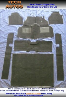 Austin MG Morris 1100 1300 Handmade to Order Auto Velour Carpet Set