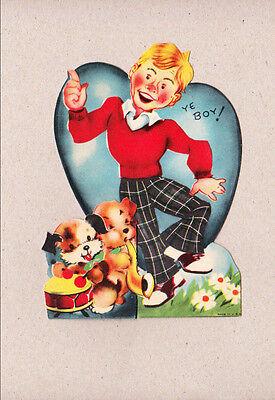 Vintage Valentine Rosey Cheek Boy Dancing Hot Stuff  Dogs Playing Instruments