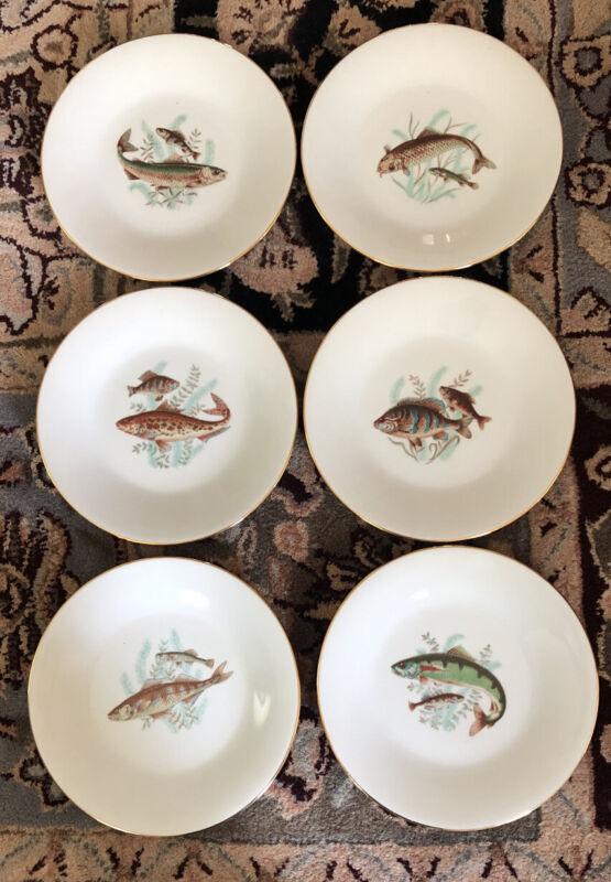 "6 RICHARD GINORI Dinner Plates Fish ITALY 9.5"" PERFECT UNUSED Condition"