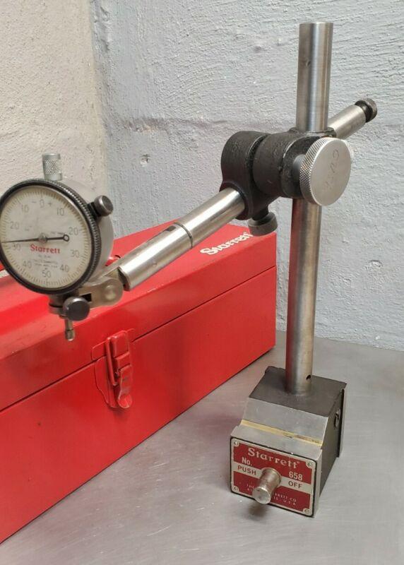 Starrett No. 658 HEAVY DUTY magnetic base w/ Starrett dial indicator No. 25-141