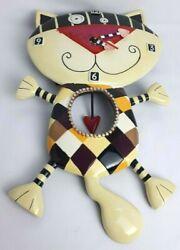 Allen Designs Whimsical Studio Collection Yellow Cat Pendulum Wall Clock