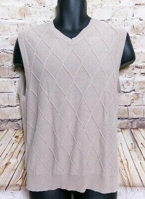 Izod Golf Classic Knit Sweater Vest Sleeveless Mens Medium Beige Cotton