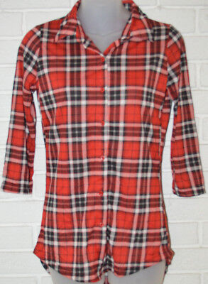 Womens Rue 21 Red Plaid 3 4 Sleeve Ltwt  Button Front Blouse Top Size Xs