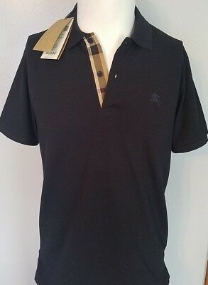 Oxford Short Sleeve Polo Shirt (Burberry dark navy polo shirt short sleeve men oxford check placket s,m,l,xl,2xl )