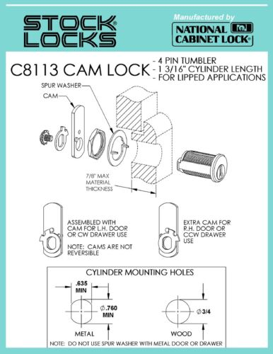 National C8113 Pin Tumbler Cam Lock Keyed Differently