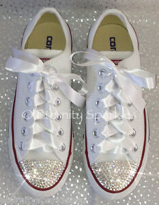 Customised-White-Crystal-Diamante-Bling-Converse-All-Star-Lo-Ribbon-Laces-UK-3-7