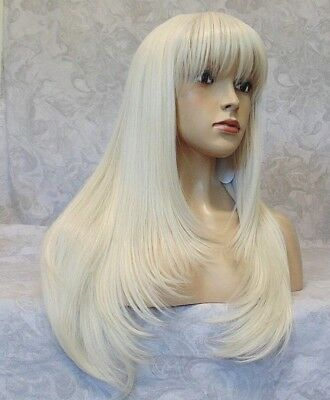 Long Straight Silky White Blonde High Heat Ok Full Synthetic Wig - - Long White Blonde Wig