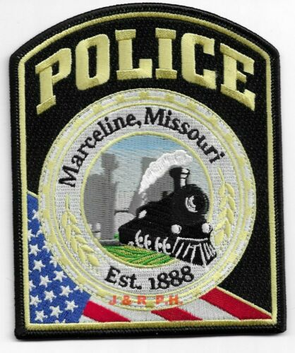 "Marceline  ""Locomotive"", Missouri (4"" x 5"" size)  shoulder police patch (fire)"