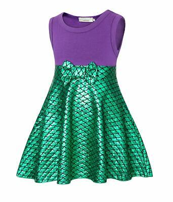 Little Mermaid Dress Ariel Costume Outfit Gilrs Birthday Party Cosplay Bowknot
