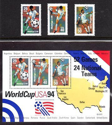 US 1994 s/s world cup 3 Stamps , MNH-FV     Pg-19A