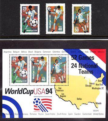 US 1994 World Cup (3 Singles & S/S Sheet)  , MNH-FV   Pg-19A