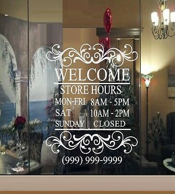 Custom Store Hours  - Wall Decal or Window
