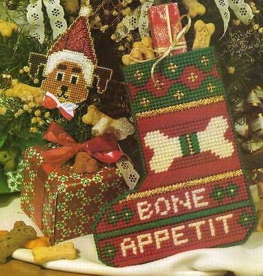 BONE APPETIT DOG STOCKING CHRISTMAS PLASTIC CANVAS PATTERN INSTRUCTIONS