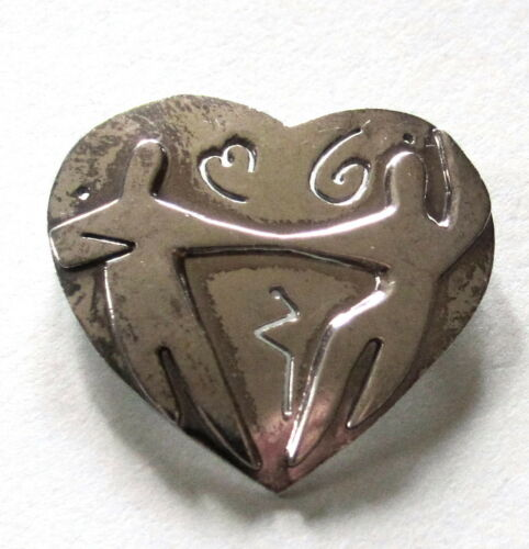 """LOVELY VINTAGE STERLING SILVER HEART PIN DANCERS 1 1/4"""" 925 Weighs 8.2g SIGNED"""