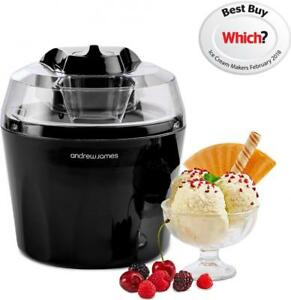 Andrew James Ice Cream Maker Machine Black 1.5L Bowl Frozen Yoghurt Sorbet