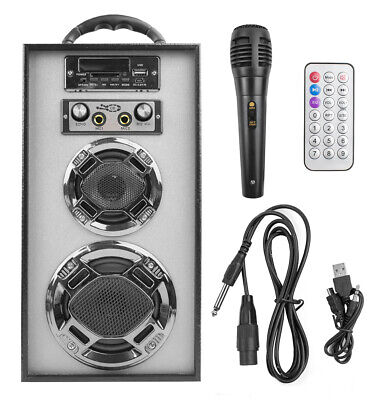 ALTAVOZ SUBWOOFER 2.0 KARAOKE MUSIC USB SD INCLUYE MICROFONO + MANDO GRIS