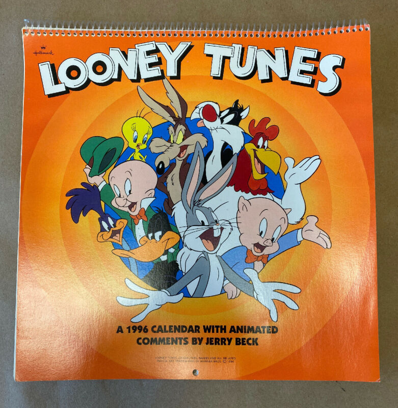 Vintage Collectible Looney Tunes 1996 12 month Calendar W/Jerry Beck Comments