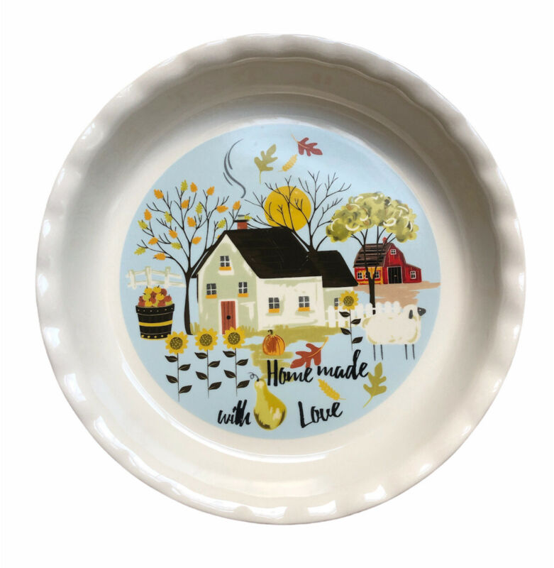 """NANTUCKET Homemade With Love 10"""" PIE PLATE FLUTED EDGES / Fall Theme"""