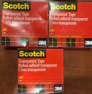 Scotch Transparent Tape 600 X 12 Roll Lot Of 3