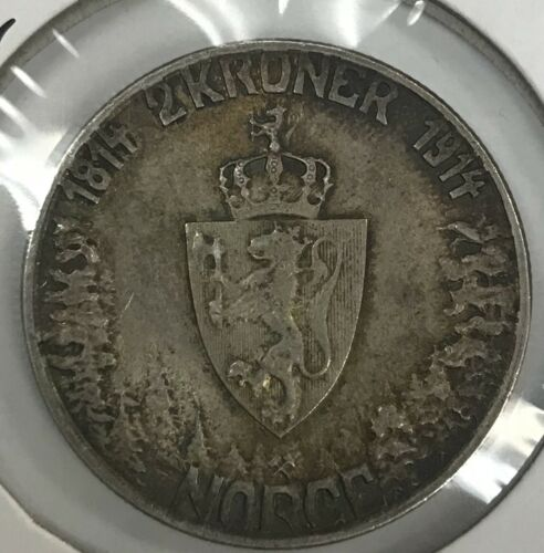 1914 Norway 2 Kroner Rare Silver Coin