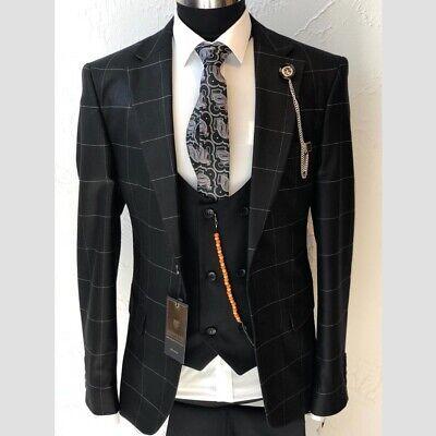 Herren Anzug Elegant 3-teilig Jacke Hose Weste Gr.46-56 Schwarz Kariert  - Western Anzug Jacke