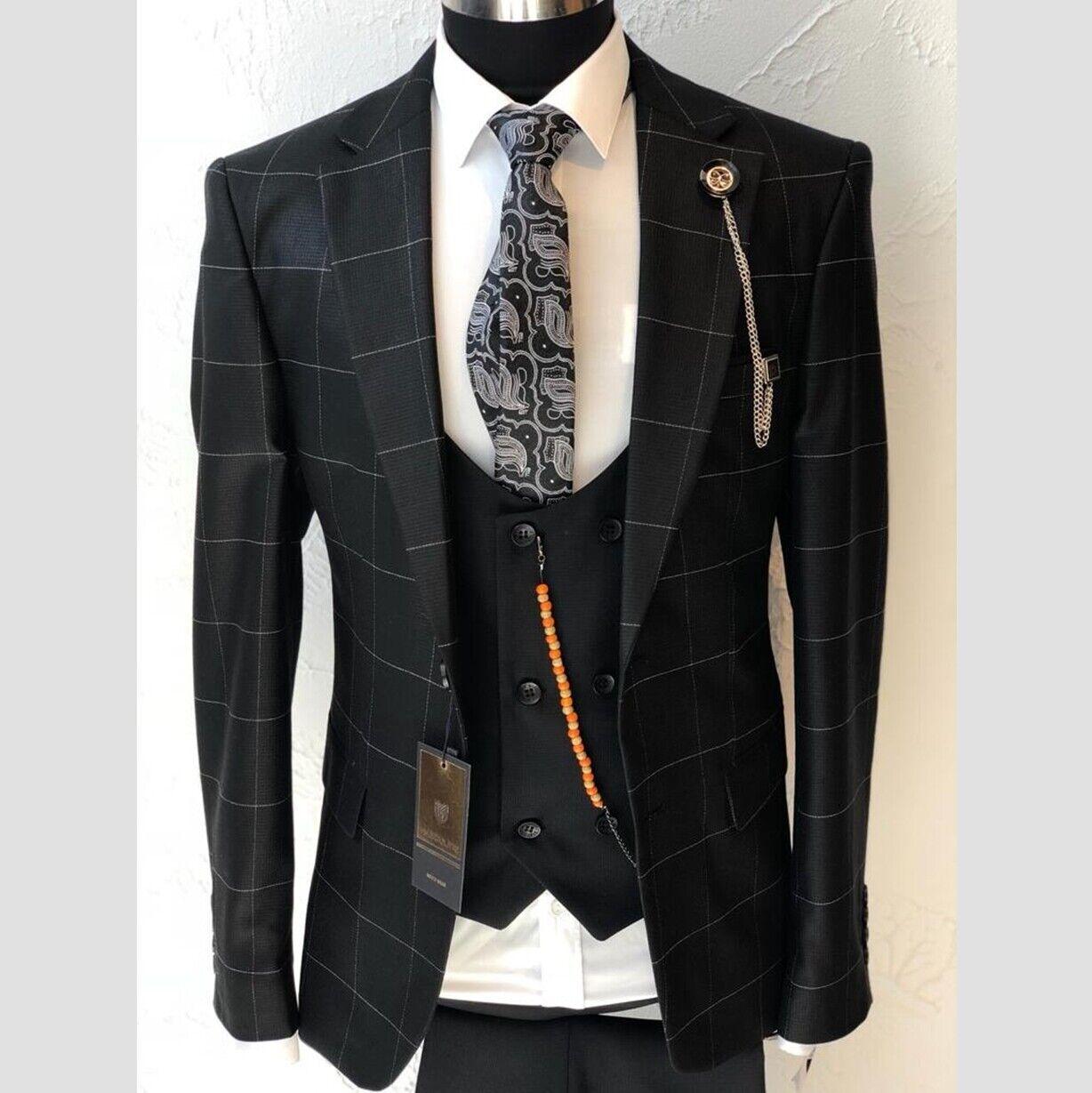 Herren Anzug Elegant 3-teilig Jacke Hose Weste Gr.46-56 Schwarz Kariert