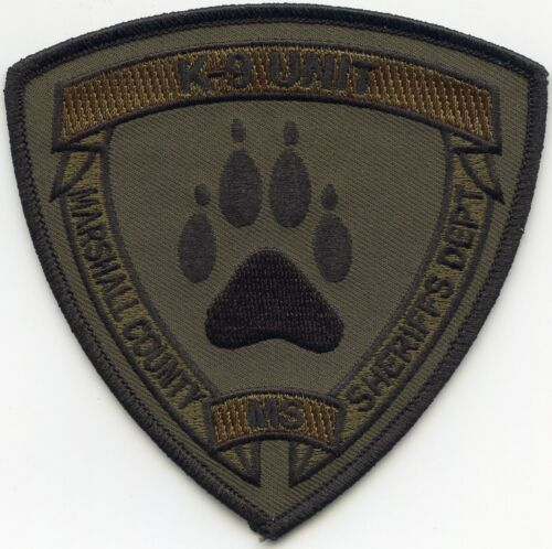 MARSHALL COUNTY MISSISSIPPI MS Subdued Green K-9 SHERIFF POLICE PATCH