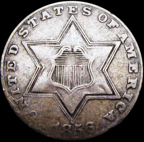 1856 Silver Three Cent Piece 3cp  ---- Nice Type Coin  ---- #S404