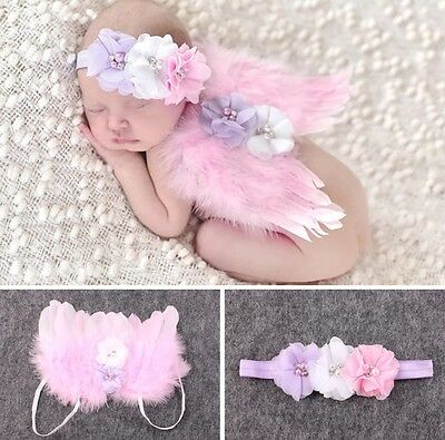 Baby Fotoshooting Fotograf Engel Kostüm Engelsflügel Set Anzug Haarband rosa