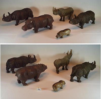 Elastolin / Lineol Masse Figuren Afrika 3 Nashörner 2 Flußpferde #092