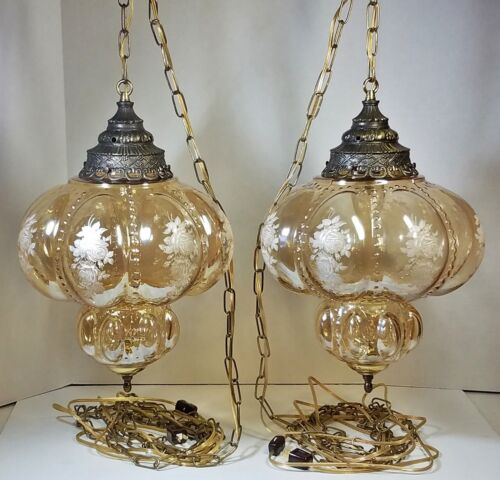 Pair Vtg Hanging Lamps Smoky Glass Globe w/ Roses Swag Light - Rewired