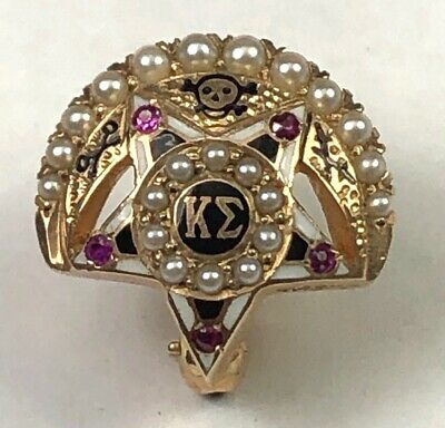 Undated Kappa Sigma Fraternity Pin,  Pearls and Rubies, Near Mint $4 Ships