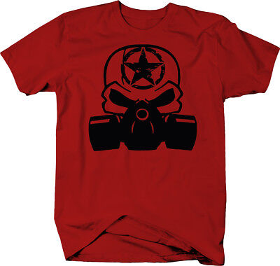 Punisher Skull Gas Mask Oscar Mike Zombie Military Color T-Shirt - Zombie Gas Mask