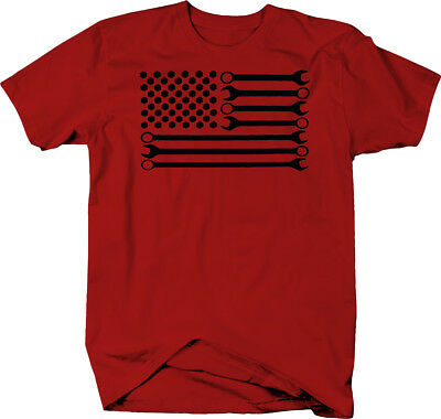 Mechanic DIY Wrench American Flag  Color T-Shirt