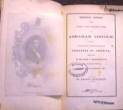 Book Civil War President Lincoln Memorial Funeral Union Life Assassination Story
