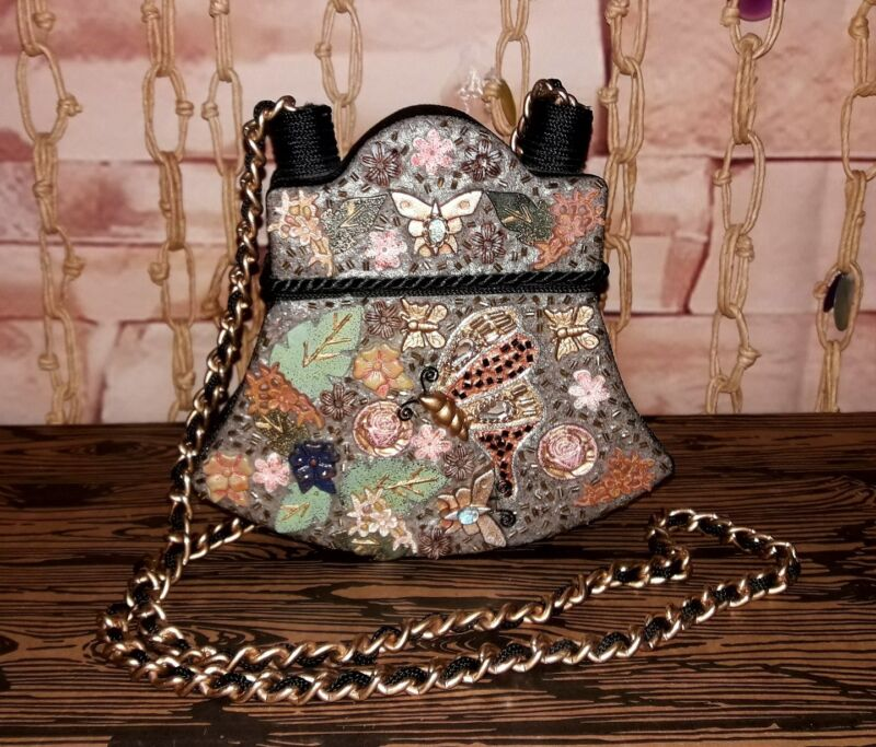 Vintage Floral Butterfly Painted Chain Strap Box Purse Beautiful