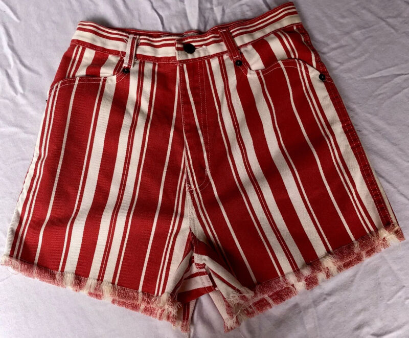 90s Red Striped Cut Offs Shorts Vintage High Waist High Rise Denim Jean Raw Hem