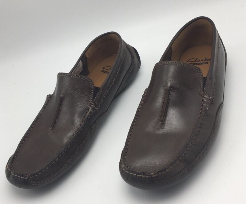 Clark's Ashmont Race Brown Smooth Leather Driving Mocs Loafers Shoes 8 M