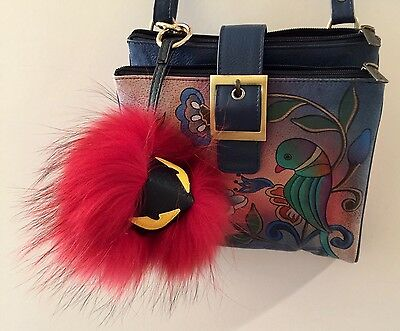 POM POM MONSTER BAG CHARM, Red Fox Designer J MICHAELS  / NWT
