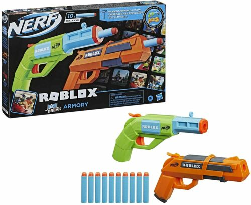 NERF Roblox Jailbreak Armory Includes 2 Hammer Action Blasters & 10 Elite Darts