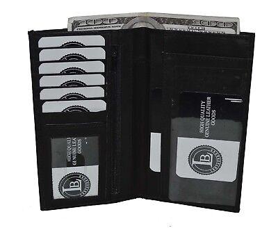 Black Leather Checkbook Cover Organizer - Black Real Leather Slim Checkbook Cover Organizer Wallet Men Women